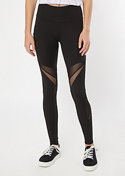 Black Mesh Panel Cell Phone Pocket Leggings