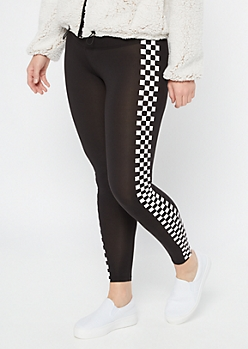 Black Checkered Print Side Striped High Waisted Leggings