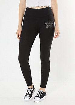 Black Rhinestone Butterfly Super Soft Leggings