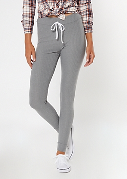 Gray Ribbed Knit Drawstring Leggings