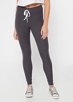 Charcoal Ribbed Knit Drawstring Leggings
