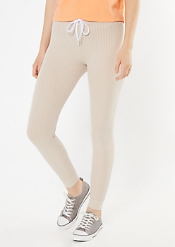 Taupe Ribbed Knit Drawstring Leggings