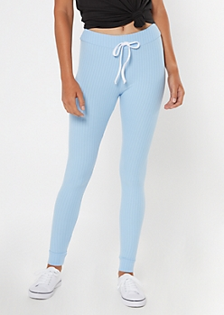 Light Blue Ribbed Knit Drawstring Leggings