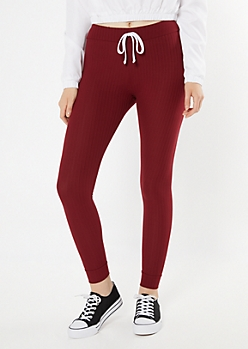 Burgundy Ribbed Knit Drawstring Leggings