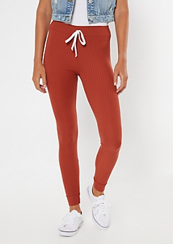 Burnt Orange Ribbed Knit Drawstring Leggings