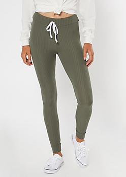 Olive Ribbed Knit Drawstring Leggings