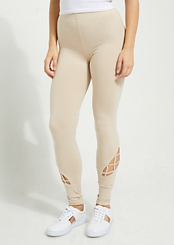 Nude Caged Strap Detail High Waist Leggings