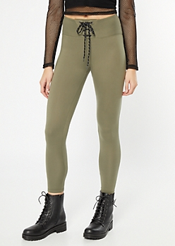 Olive Lace Up Super Soft Mid Rise Leggings