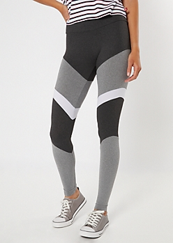 Gray High Waisted Colorblock Leggings