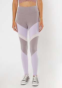 Lavender High Waisted Colorblock Leggings