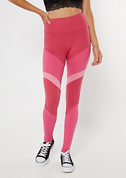 Pink High Waisted Colorblock Leggings