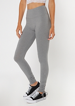 Heather Gray Drawstring Cinched Leggings