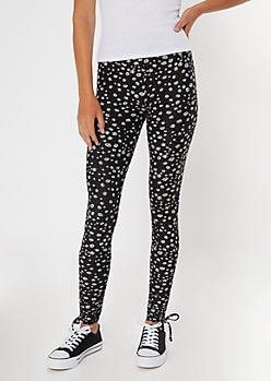Daisy Print Drawstring Cinched Leggings