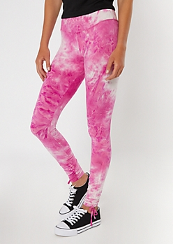 Pink Tie Dye Drawstring Cinched Leggings