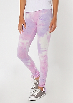 Purple Tie Dye Drawstring Cinched Leggings