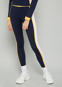 Navy Colorblock Striped Mid Rise Super Soft Leggings