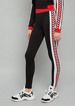 Black Checkered Print Striped Super Soft Mid Rise Leggings