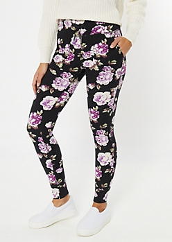 Black Floral Print Super Soft Jogger Leggings