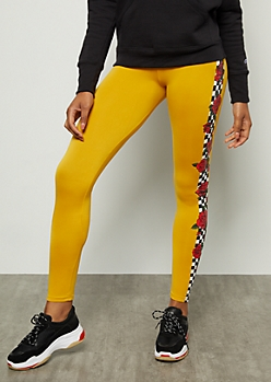b1f076d56d6062 Mustard Checkered Print Rose Super Soft Mid Rise Leggings