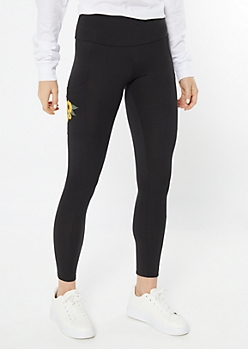 Black Sunflower Cell Phone Pocket Leggings
