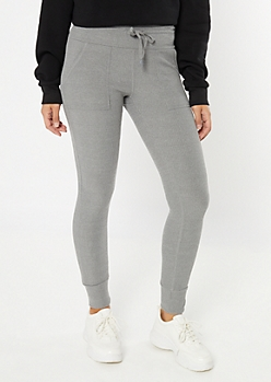 Gray Ribbed Knit Super Soft Leggings