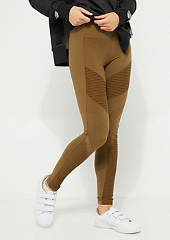Olive Moto Mesh Panel Leggings