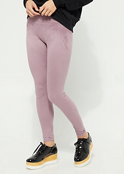 Pink High Waist Faux Suede Leggings