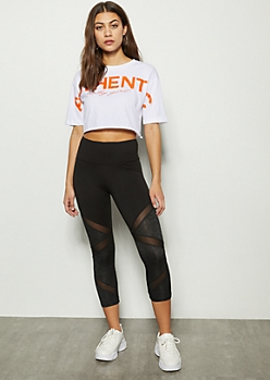 Black Space Dye Mesh Cropped Leggings