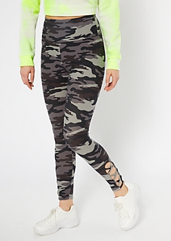 Gray Camo Print High Waisted Super Soft Leggings