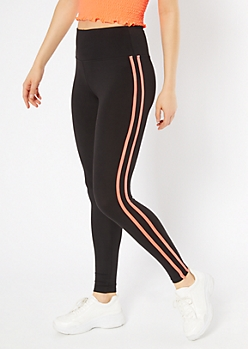 Black Coral Double Side Striped Super Soft Leggings