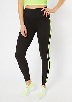 cca135bad50c85 Black Neon Double Side Striped Super Soft Leggings