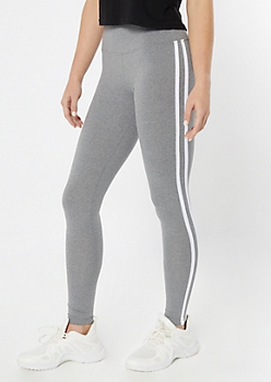 Gray Side Striped Wide Waistband Leggings