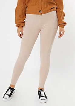 Taupe Ribbed Insert Cell Phone Pocket Leggings