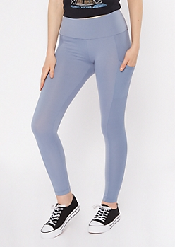 Light Blue Ribbed Insert Cell Phone Pocket Leggings