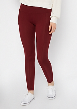 Burgundy Ribbed Insert Cell Phone Pocket Leggings