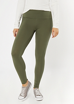 Olive Ribbed Insert Cell Phone Pocket Leggings