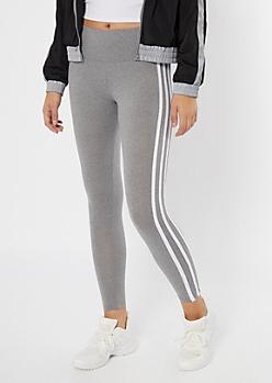 Gray Four Side Striped Super Soft Leggings