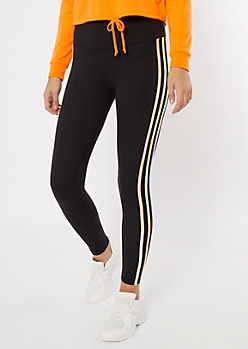 Black Tie Dye Four Side Striped Super Soft Leggings