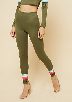 Olive High Waisted Striped Leggings