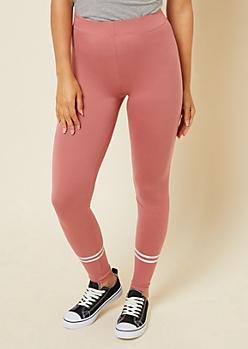 Pink High Waisted Striped Calf Super Soft Leggings