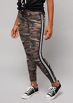 Camo Print Side Striped Leggings