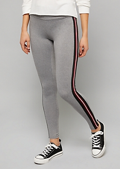 Heather Gray Side Striped Leggings
