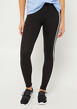 Black High Waist Varsity Stripe Leggings
