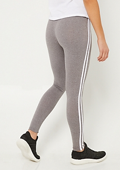 Heather Gray High Waist Varsity Stripe Leggings