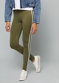 Light Olive High Waisted Side Striped Super Soft Leggings