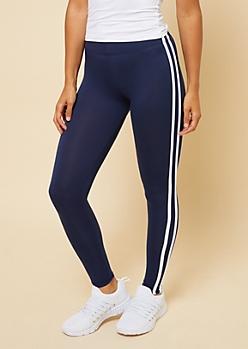 Navy High Waisted Side Striped Super Soft Leggings