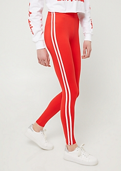 Red High Waisted Side Striped Super Soft Leggings