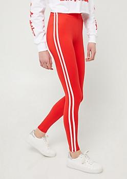 Red High Waisted Varsity Striped Leggings