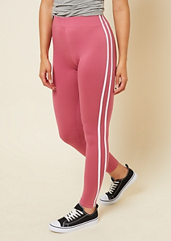 Pink High Waisted Side Striped Super Soft Leggings