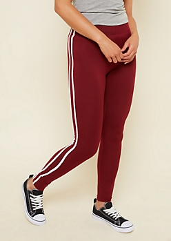 Burgundy High Waisted Side Striped Super Soft Leggings
